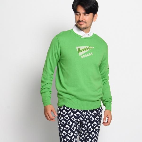 パイルロゴ刺繍入りセーター/アダバット(メンズ)(adabat(Mens))