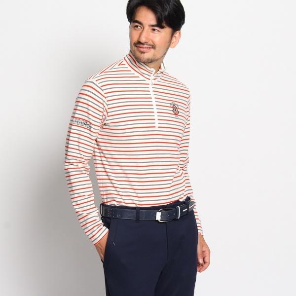 MTシャツ(蓄熱保温機能ジップアップボーダーポロシャツ)/アダバット(メンズ)(adabat(Mens))