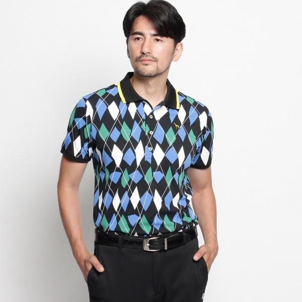 MTシャツ(変形アーガイルプリント半袖ポロシャツ)/アダバット(メンズ)(adabat(Mens))