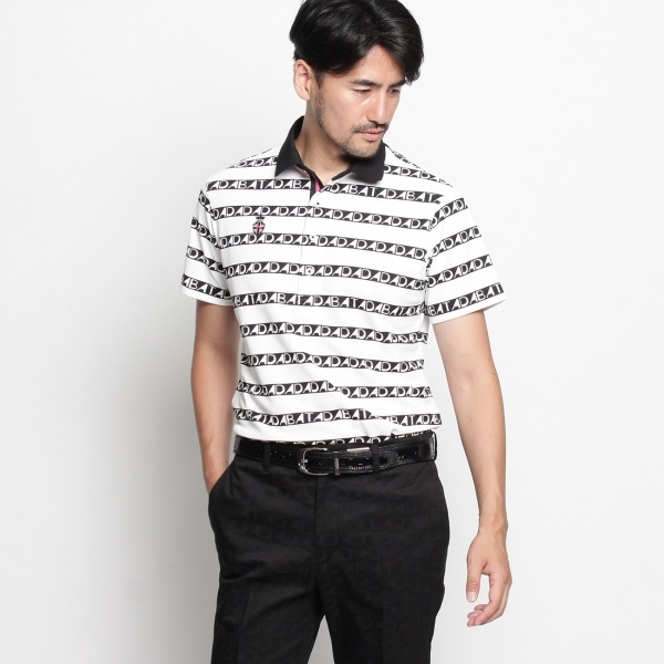 MTシャツ(ADロゴボーダープリント半袖ポロシャツ)/アダバット(メンズ)(adabat(Mens))