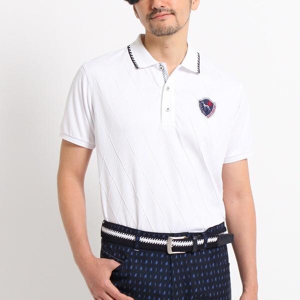 MTシャツ(【クールコア】【UVカット】プリーツダイヤ柄 半袖 ポロシャツ)/アダバット(メンズ)(adabat(Mens))