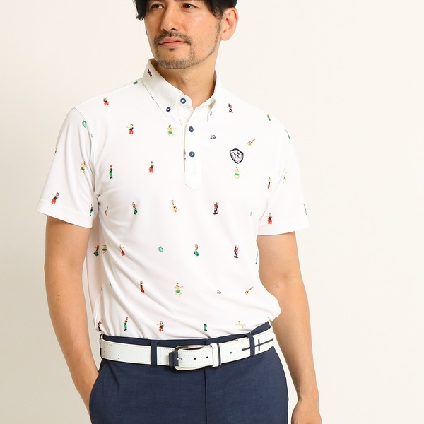 MTシャツ(【UVカット】【吸水速乾】フラダンスモチーフ半袖ポロシャツ)/アダバット(メンズ)(adabat(Mens))