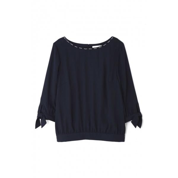 ◆大きいサイズ◆袖口リボンバックサテンブラウス/アリスバーリー(Lサイズ)(Aylesbury)