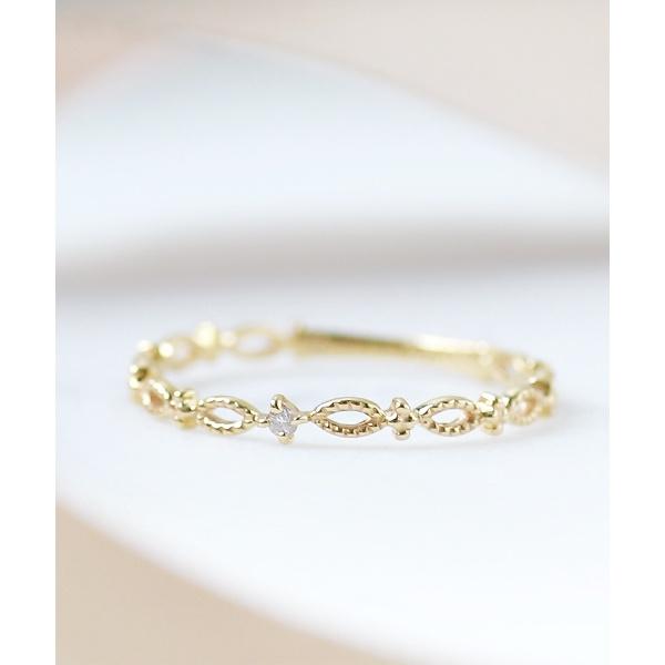 一粒ダイヤのオーバル透かしカットリング/シエナロゼ(SIENA ROSE)