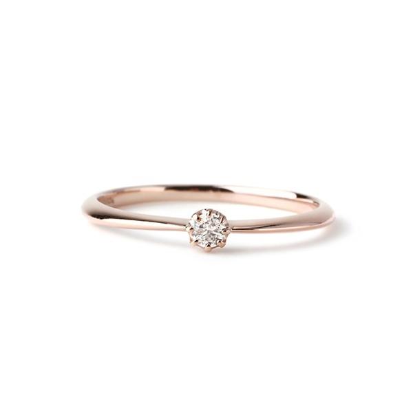 一粒ダイヤのシンプルリング[ロゼチナ]/シエナロゼ(SIENA ROSE)
