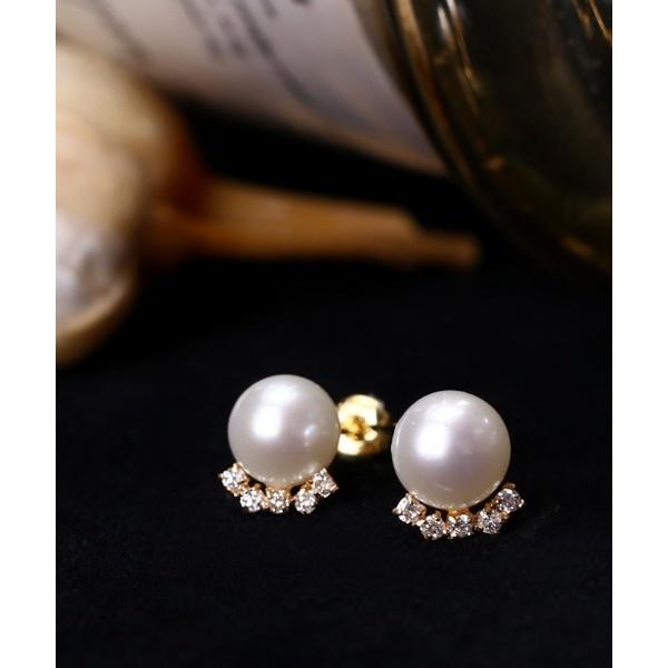 ファイブダイヤを添えた18金パールピアス/シエナロゼ(SIENA ROSE)「不良品のみ返品を承ります」