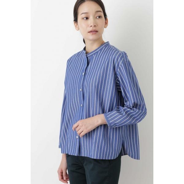 ◆ブロードストライプスタンドカラーシャツ/ヒューマンウーマン(HUMAN WOMAN)