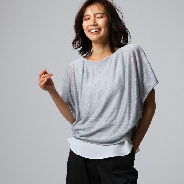 重ね着風ストレッチカットソー/アンタイトル(UNTITLED)