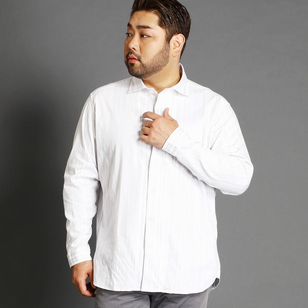 <大きいサイズ>ストライプホリゾンタルカラーシャツ/ハイダウェイ(大きいサイズ)(HIDEAWAYS)