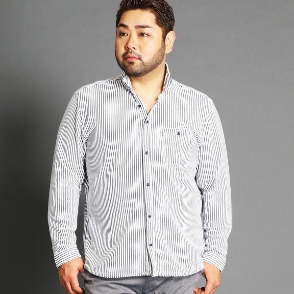 <大きいサイズ>イタリアンカラー長袖カットシャツ/ハイダウェイ(大きいサイズ)(HIDEAWAYS)
