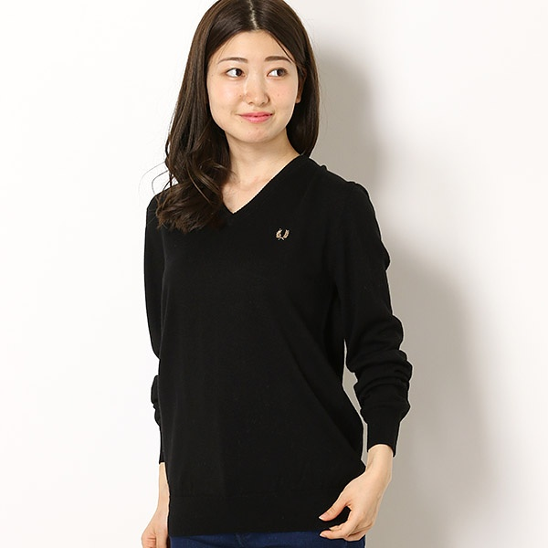 【18AW】『雑誌FUDGE 10月号掲載商品』TIPPED V-NECK SWEATER/フレッドペリー(レディス)(FRED PERRY)