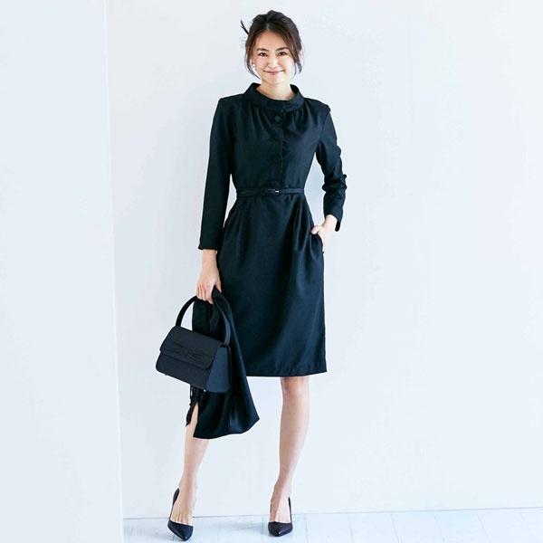 ワンピース スーツ ブラックフォーマル 喪服 結婚式 ベルト付き フォーマル/クリーム(C.R.E.A.M)