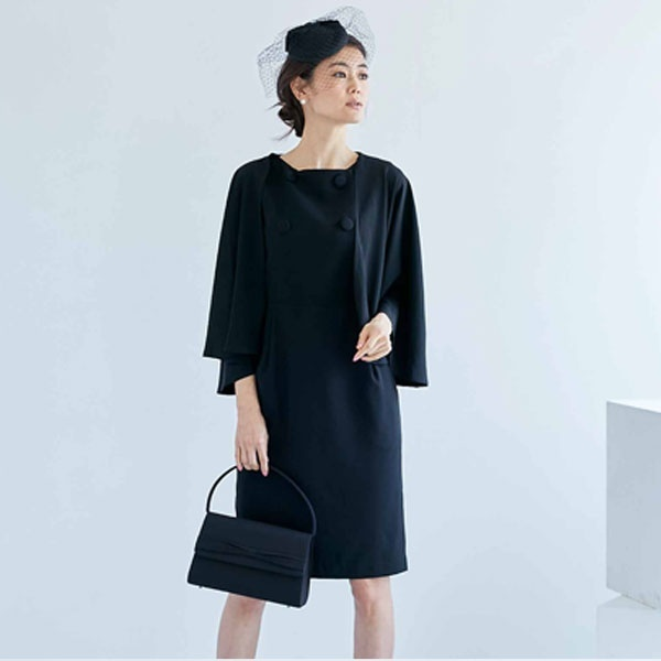 ケープ ワンピース スーツ ブラックフォーマル 喪服 結婚式 大きいサイズ フォーマル/クリーム(C.R.E.A.M)