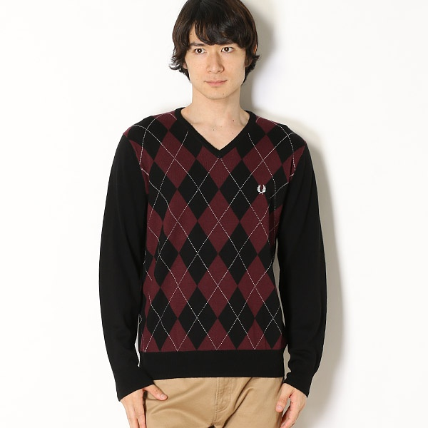 【18AW】ARGYLE SWEATER/フレッドペリー(メンズ)(FRED PERRY)
