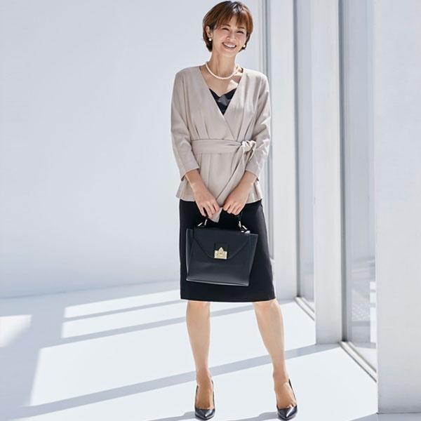 スカート セットアップ フォーマル スーツ 喪服 ブラックフォーマル 大きいサイズ 結婚式 /クリーム(C.R.E.A.M)