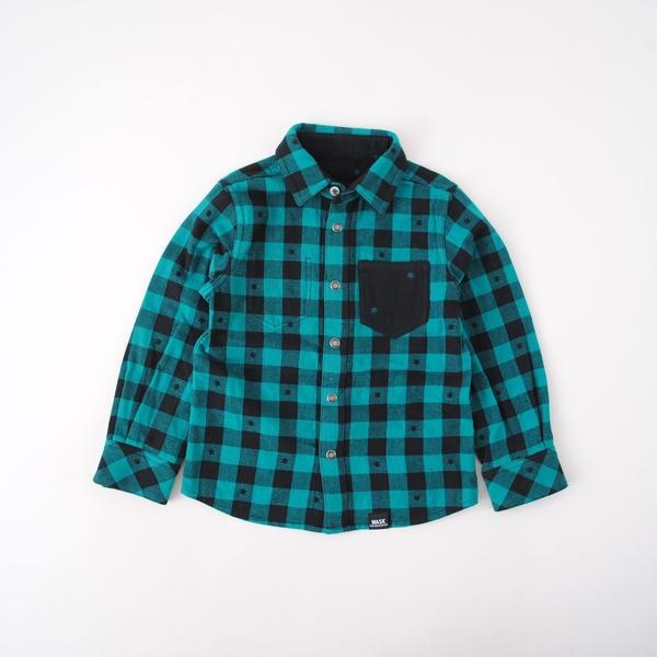 チェックホシリバーシブルシャツ(140cm~160cm)/ワスク(WASK)