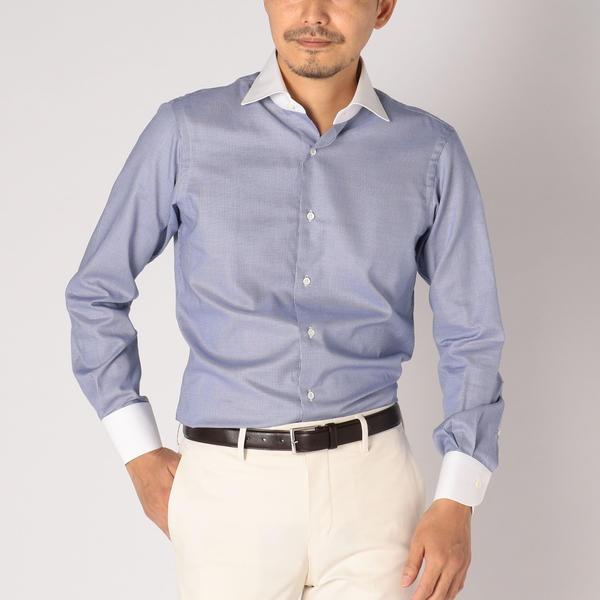SD: 【ALBINI社製生地】ファインフィット ハウンドトゥース ワイドカラー シャツ(ネイビー)/シップス(メンズ)(SHIPS)