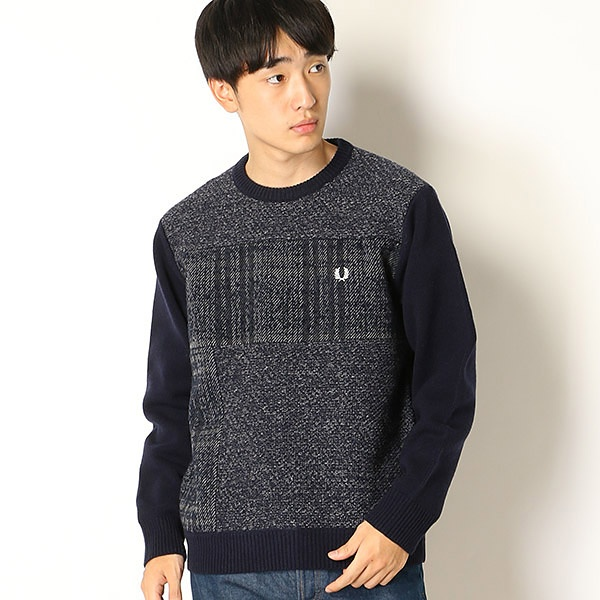 【18AW】MIX PANEL SWEATER/フレッドペリー(メンズ)(FRED PERRY)