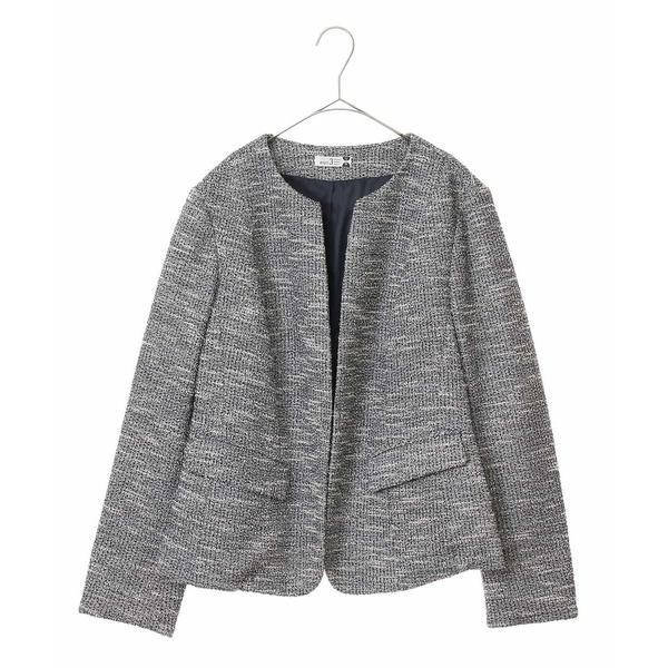 【大きいサイズ】ノーカラーデザインジャケット/エウルキューブ(eur3)