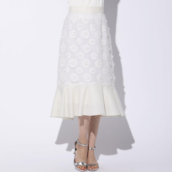 【大きいサイズ】フラワーカットジャガード切り替えスカート/クイーンズコート(大きいサイズ)(QUEENS COURT)