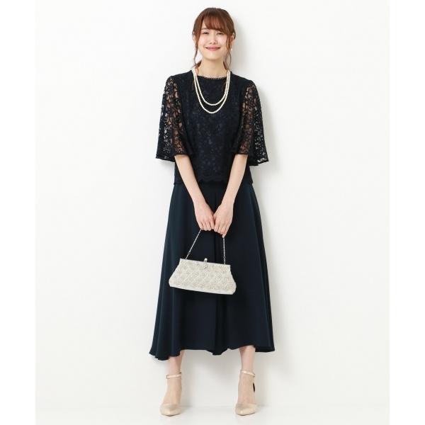 【結婚式やパーティーに】フラワーダブルコードレースセットアップ ドレス/組曲 S(KUMIKYOKU S)