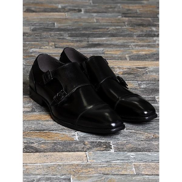 バッファローカーフダブルモンクビジネスドレスシューズ/アラウンド ザ シューズ(around the shoes)