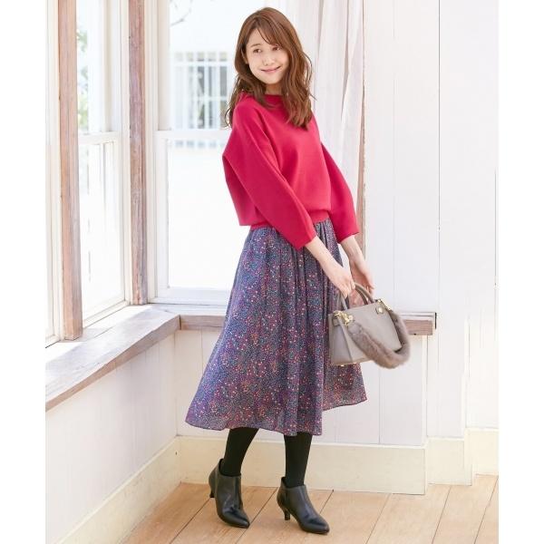 【洗える】LIBERTYキュプラスパンローン スカート/組曲(KUMIKYOKU)