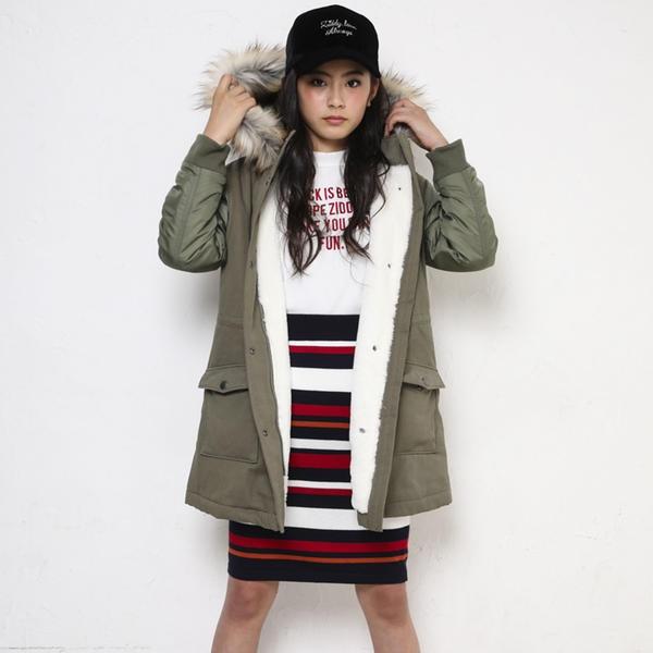 【ニコプチ掲載】袖ポリエステルツイルモッズコート/ジディ(ZIDDY)