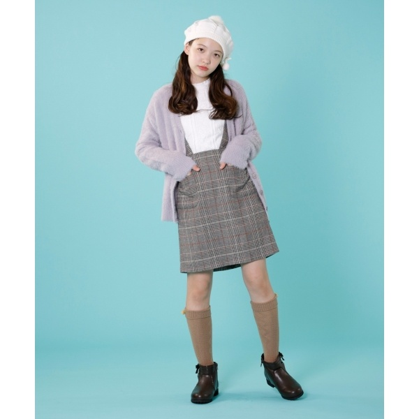 【150~170cm】グレイッシュチェック台形ミニ スカート/組曲 キッズ(KUMIKYOKU KIDS)