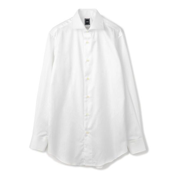 SD:【ALBINI社製生地】サテン ホリゾンタルカラー シャツ(ホワイト)/シップス(メンズ)(SHIPS)