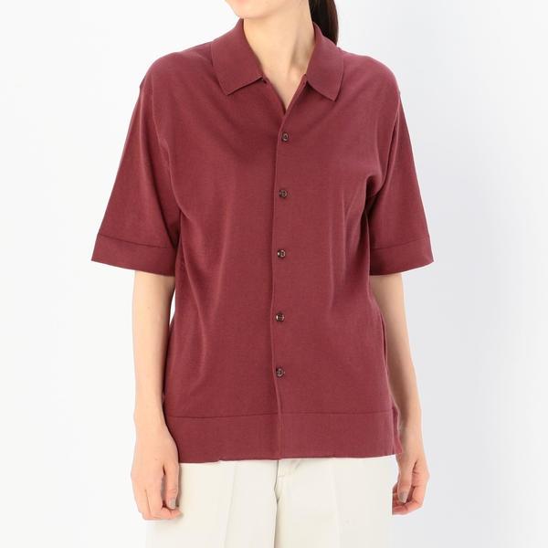【JOHN SMEDLEY】オープンカラーニットシャツ WOMEN/ビショップ(レディース)(Bshop)