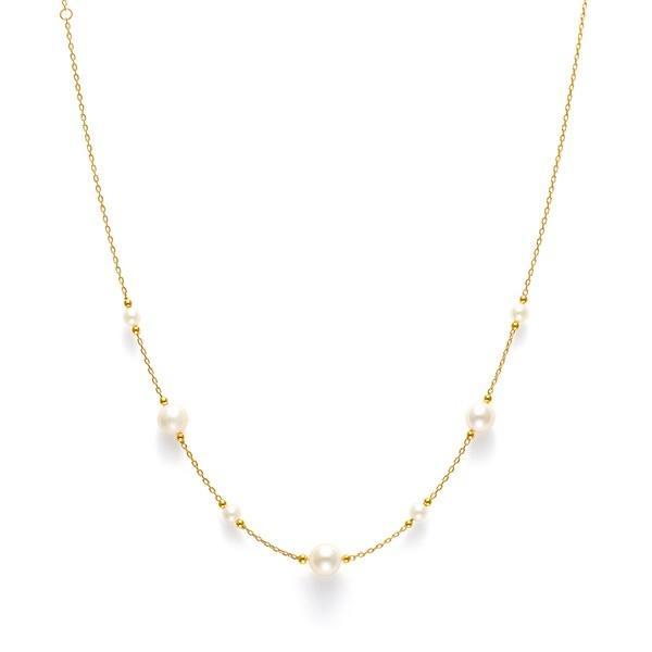 6月誕生石 シルバー イエローゴールドメッキ あこや真珠 ネックレス/ブルーム(BLOOM)
