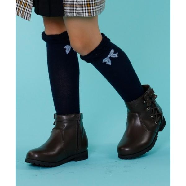 【KIDS雑貨】サイドレースUP合皮ショート ブーツ/組曲 キッズ(KUMIKYOKU KIDS)