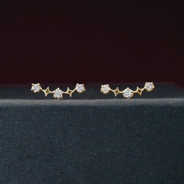 【限定ベアBOX付き】K18・K10スペルバウンドダイヤモンドピアス 0.04ct/テイクアップ ピュア(TAKE-UP Pure)