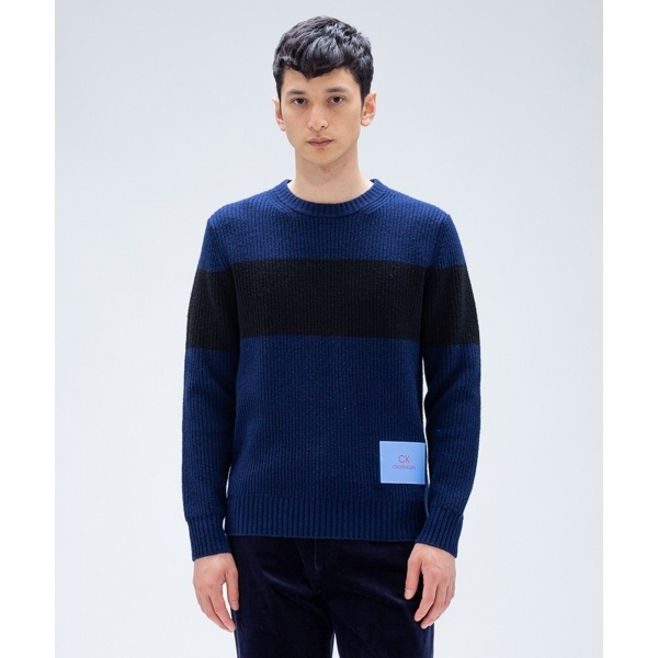 【2018AW新作】ウールナイロンロゴパッチ ニット/カルバン・クライン メン(Calvin Klein men)
