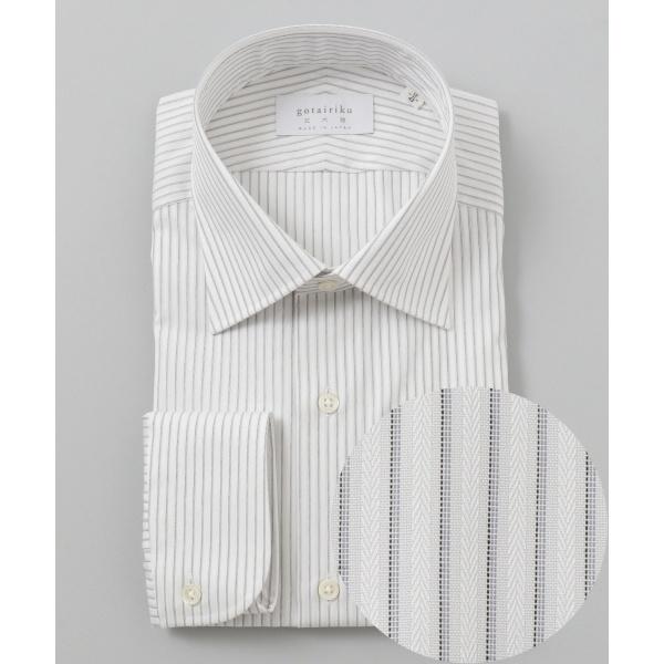 【日本製】【セミワイド】 SLOWVINTAGE ドレスシャツ ストライプ/五大陸(gotairiku)