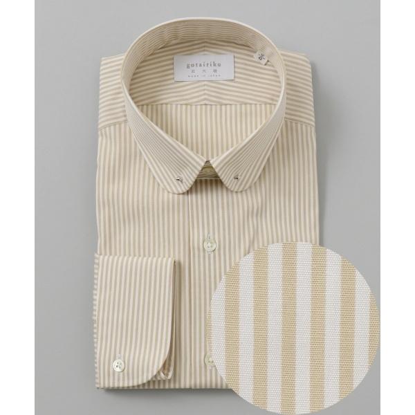 【日本製】【ラウンド ピンホール】 SLOWVINTAGE ドレスシャツ ストライプ/五大陸(gotairiku)