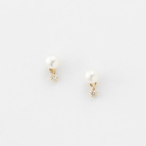 【K10】ダイヤモンドスウィングパールピアス/フィービィー(phoebe)「不良品のみ返品を承ります」