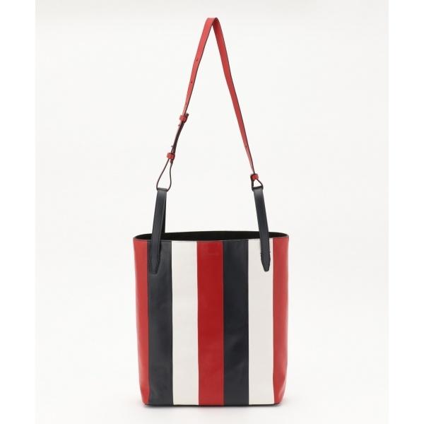 【トリコロール】レザーストライプトートバッグ/カルバン・クライン ウィメン(Calvin Klein women)