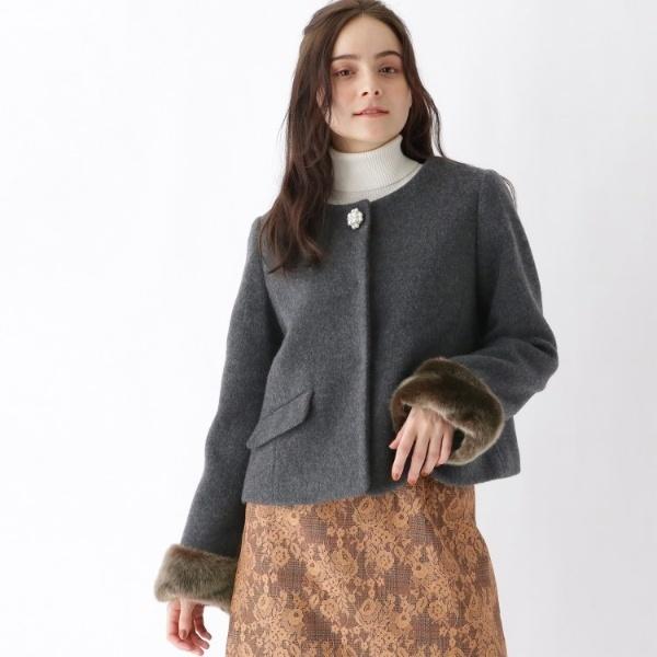Lジャケッ(【WEB限定サイズ(S・LL)あり】3wayノーカラーパールボタンショートジャケット)/クチュールブローチ(Couture Brooch)