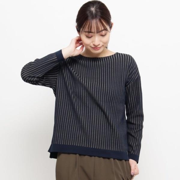 Lセーター(◆ストライプニットプルオーバー)/エッシュ(esche)