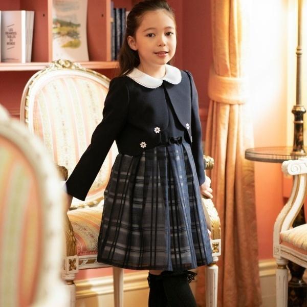 ドレス(【110cm?130cm】ボレロ付シアーチェックワンピース)/サンカンシオン(キッズ)(3can4on Kids)