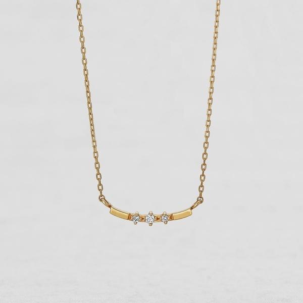 K10 ダイヤモンド 横型カーブ3石 ネックレス( YG)/テイクアップ ピュア(TAKE-UP Pure)