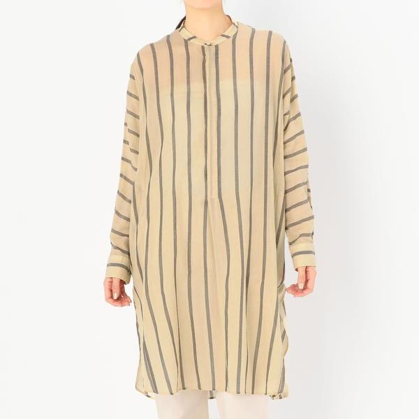 【unfil】バンドカラーシャツドレス Striped Voile WOMEN/ビショップ(レディース)(Bshop)