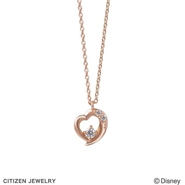ディズニー シンデレラ K10 ピンクゴールド ダイヤモンド ハートモチーフ ネックレス/ブルーム(BLOOM)