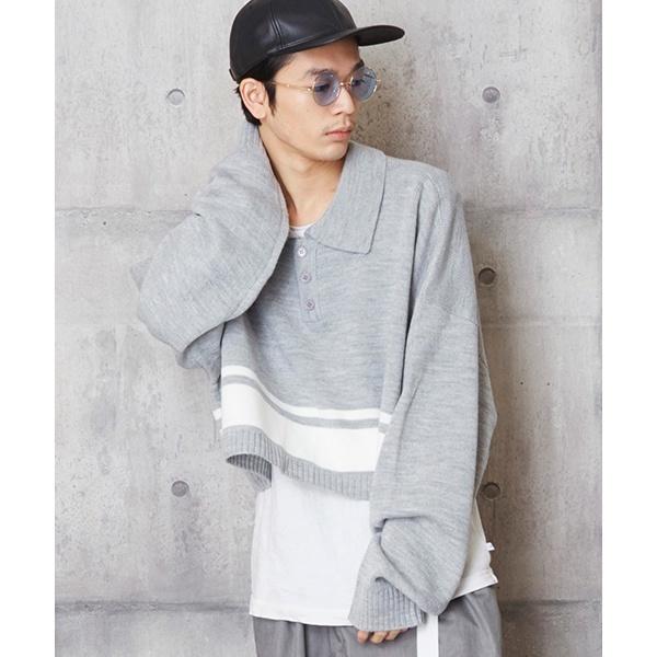 オーバーサイズショート丈ニットポロ ショート丈ポロシャツ/アンリラクシング(unrelaxing)