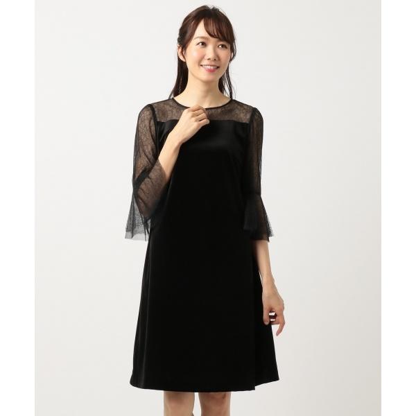 【結婚式やパーティーに】ベルベットコンビチュールレース ドレス/組曲 S(KUMIKYOKU S)