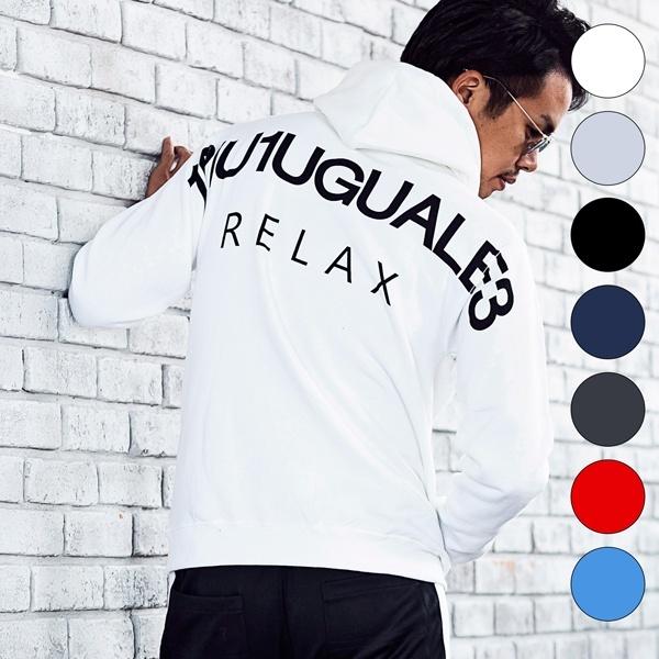 1PIU1UGUALE3 RELAX バックロゴプリントプルオーバーパーカー/ウノピュウウノウグァーレトレ リラックス(1PIU1UGUALE3 RELAX)