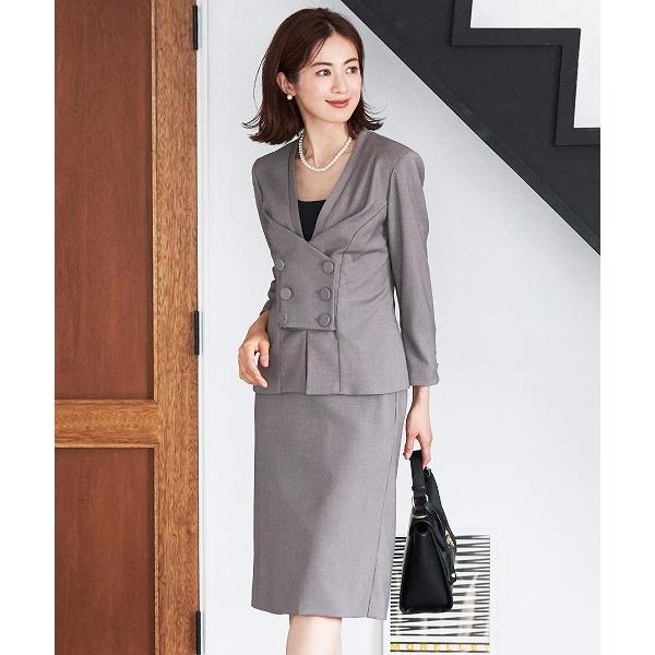 スカート ジャケット フォーマル スーツ セットアップ 結婚式 ブラックフォーマル 喪服/クリーム(C.R.E.A.M)