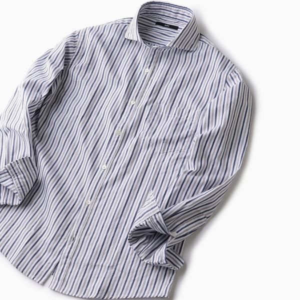 SC: ヘリンボーン/ストライプ セミワイドカラーシャツ/シップス(メンズ)(SHIPS)